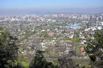 View from hill top looking at Santiago the capital of Chile