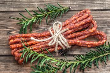 Dried kabanos sausage - traditional thin sausage in polish cuisine