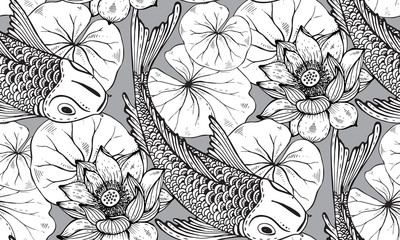 Seamless vector pattern with hand drawn Koi fish with lotus