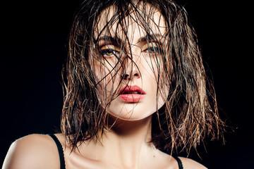girl brunette model with wet hair