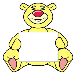 animal, cartoon, isolated, toy, childhood, child, soft, character, sweet, kind, happy, emotion, teddy bear, bear, teddy, plaque, banner, poster, clean, empty