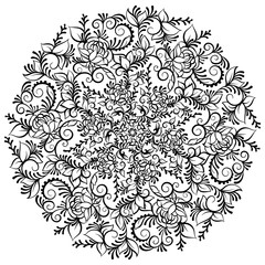Hand drawn ornate fantasy flower in the crown of leaves and swirls. Isolated Vector illustration. Flower mandala