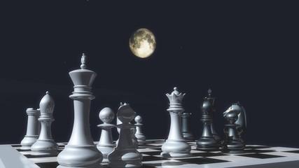 Шахматные фигуры, расставленные на фоне ночного неба с полной луной