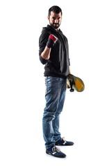 Lucky man with skateboard