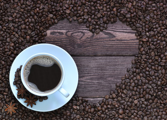 A Cup of coffee and coffee beans.