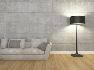 living room with sofa and floor lamp -3d  rendering