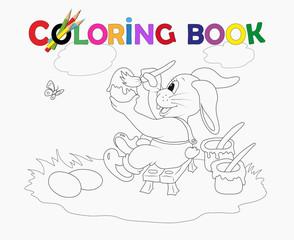 Ausmalbild Osterhase färbt die Eier Vektor illustration isoliert auf weiß