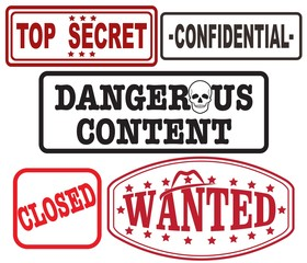 SET OF STAMPS,TOP SECRET, CONFIDENTIAL, DANGEROUS CONTENT, CLOSED AND WANTED
