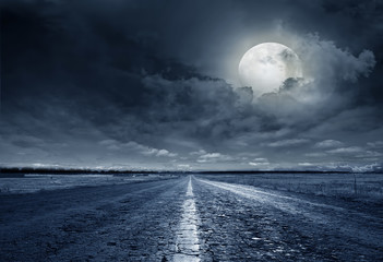 Keuken foto achterwand Nacht snelweg asphalt road night
