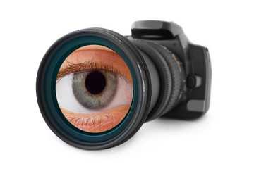 Photo camera and eye in lens