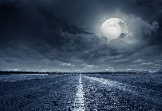 asphalt road night