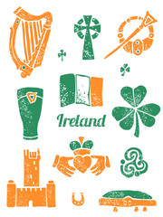 Symbol of Ireland set in lino style