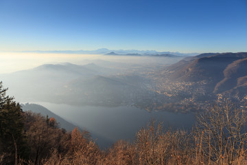 Como Lake, Aerial View of Cernobbio and Tavernola from viewpoint Brunate Funicolare at dusk, Italy. Cernobbio is a comune (municipality) in the province of Como, Lombardy, northern Italy