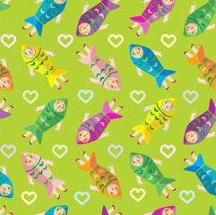 women fish green vector pattern