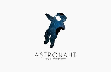 Astronaut logo. Cosmic logo. Stars and planet logotype. Space concept logo. Creative logo