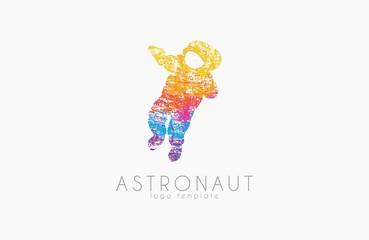 Astronaut logo. Colorful logo. Grunge slyle logotype. Space concept logo. Creative logo