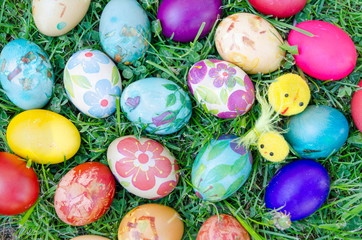 Decoupage decorated colorful Easter eggs