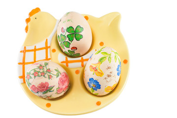 Hand painted and decoupage decorated Easter eggs
