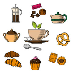 Tea, bakery and pastry objects
