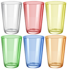 Water glass in six different colors