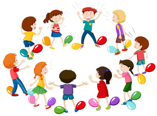 Children playing game of balloon popping