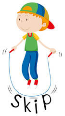 Little boy with rope skipping