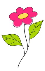 Beautiful pink flower. Floral Design Element