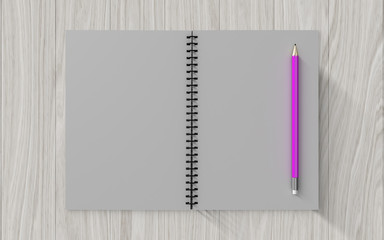 Blank note paper with pencil. on wood background