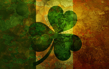Ireland Flag with Shamrock Grunge Background Illustration