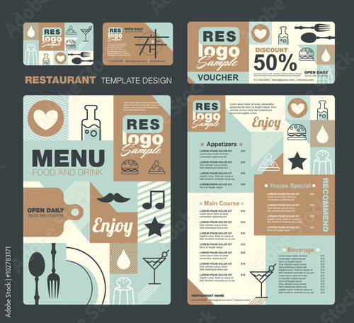 big set of restaurant and cafe menu design voucher business card
