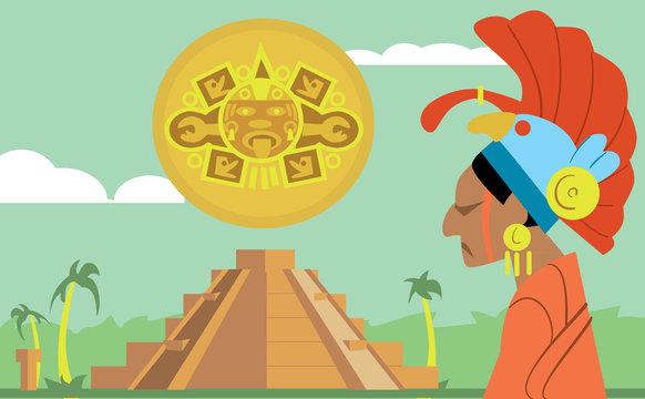 Pyramid Maya, chief of the tribe Maya. Vector illustration Mayan.