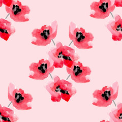 Watercolor flowers red poppy seamless pattern.
