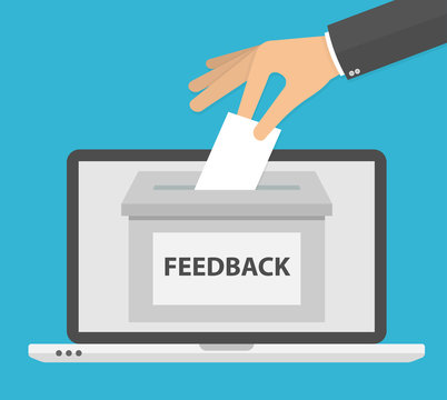 Online feedback concept. Hand putting or inserting paper in the feedback box. Flat design