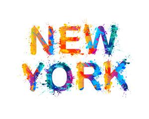 NEW YORK. Watercolor splash paint city name