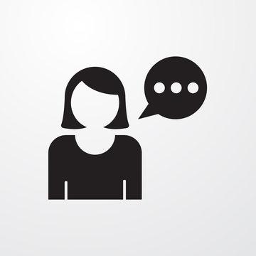 Woman with speech balloon icon