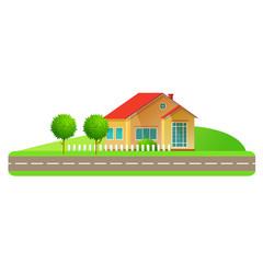 Flat design style vector illustration. Sammer landscape family house.
