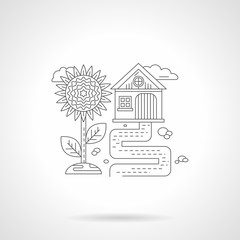 Sunflower detail line vector icon