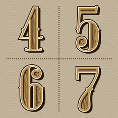 western alphabet letters vintage numbers design vector (4,5,6,7)