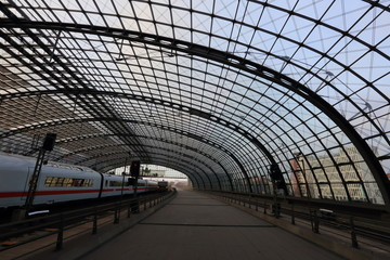 View of the city railway station, Berlin, Germany.