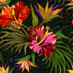 vector tropical pattern. Seamless design with hihiscus, palm, bird of paradise. Intense colors, vintage style