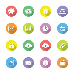 Colorful simple flat icon set 4 on circle with long shadow for web design, user interface (UI), infographic and mobile application (apps)