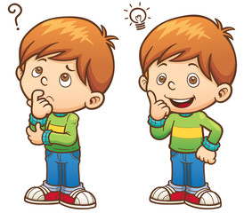 Vector illustration of Cartoon Boy thinking