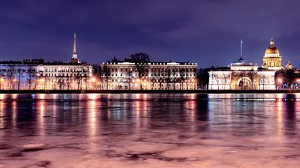 Neva`s embankment in St, Petersburg, night