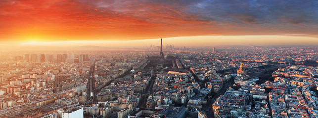 Panorama of Paris at sunset, cityscape