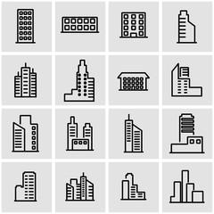 Vector line building icon set. Building Icon Object, Building Icon Picture, Building Icon Image - stock vector