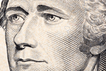 Alexander Hamilton, a close-up portrait on US ten dollars