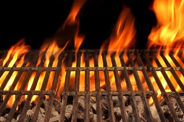 Aluminium Prints Grill / Barbecue Empty Barbecue Fire Grill And Burning Charcoal With Bright Flame