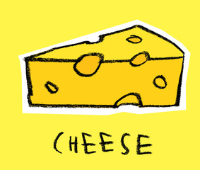 Slice of cheese on yellow background