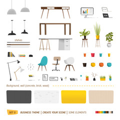 Business office elements for create your scene