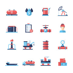 Oil, gas industry modern flat design icons and pictograms
